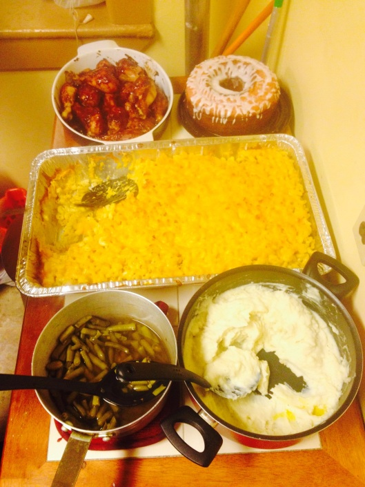 The final outcome of the dinner. This wasn't even all of the food!