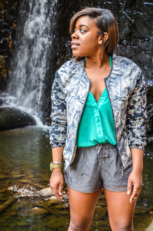 This look was shot at  a waterfall that was tucked away under a bridge in a park. I literally had to put on a pair of flip-flops and climb down a dirt incline to  see the amazing sight and get these images :)
