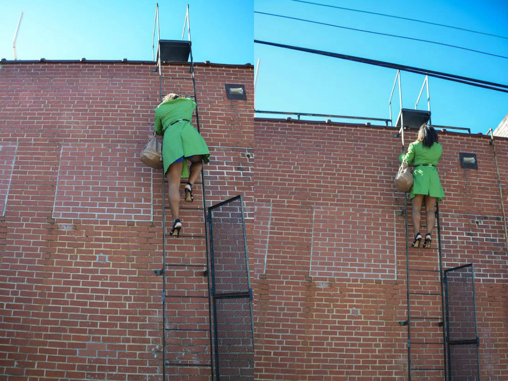 """Naj: """"Want to try something risky, we will get some good shots though!""""//. Me: Yes, lets do it! //Naj: *looks at ladder*  You're going to have to climb to the top of the building // Me: Okay! *grabs purse and begins to climb up the ladder* // Naj: DO you want me to hold your heels or something?! // Me: Nope, I'm good! // Naj: Only YOU would climb the side of a building in heels!! *begins to laugh and take a picture! lol :)"""